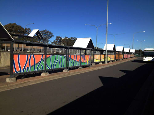 Murals by Blak Douglas seen at Campbelltown, Campbelltown - Cambpelltown Station Mural Project