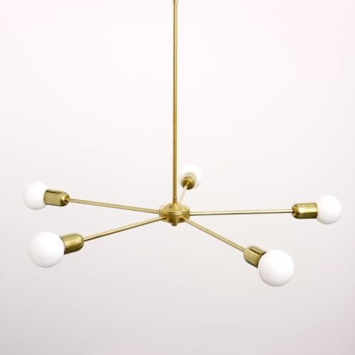 Chandeliers by Spark & Bell seen at Private Residence, Brighton - Five Arm Brass Chandelier