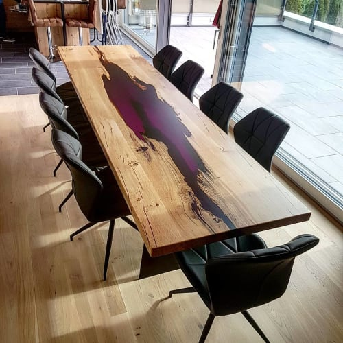 Tables by Atelier Insolite seen at Private Residence, Crésuz - Volis Wood Table