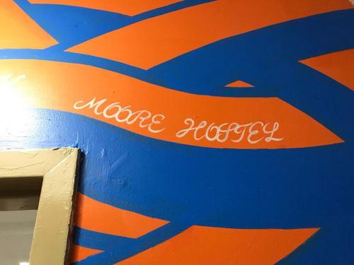 Murals by MOYA seen at NY Moore Hostel, Brooklyn - MOYA  pattern