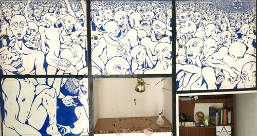 Murals by MarkerStart seen at Private Residence, Granada - Crude, Naked Party