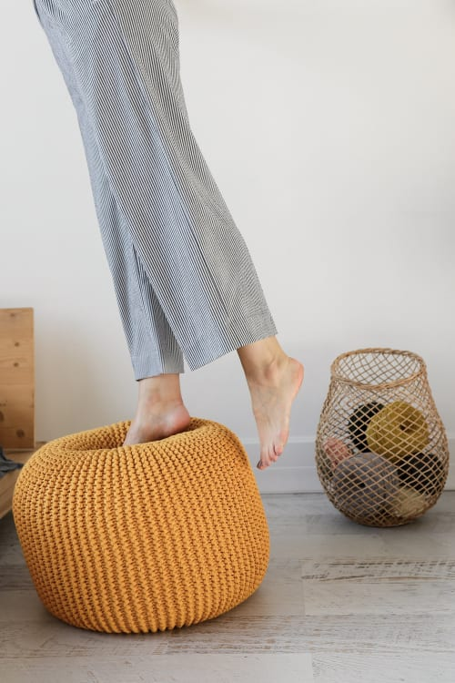 cotton floor pouf orange mustard