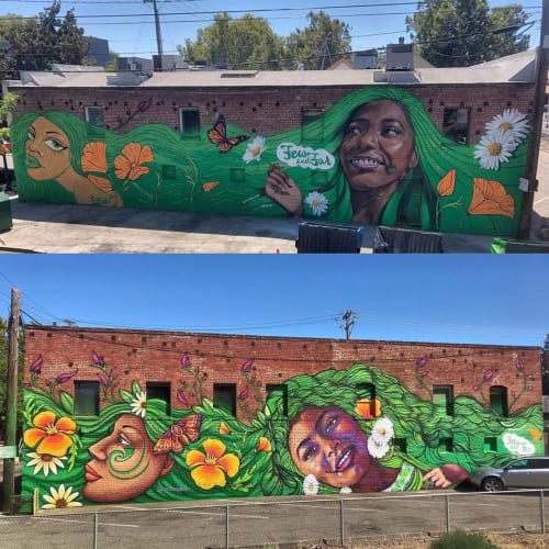 Street Murals by Ursula Xanthe Young seen at Private Residence, Sacramento - Wide Open Walls x Few & Far Women 2019