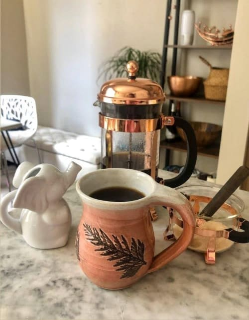 Cups by Orna's Pottery seen at Private Residence, Seattle - Cedar Imprinted Coffee Mug