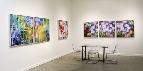 Photography by Carol Inez Charney seen at Private Residence, Oakland - Installation of After Painting Images. After Claude Monet: Iris 1&2, 1916, 2017. After Claude Monet: Chrysanthemums 1,2,3, 1897, 2017