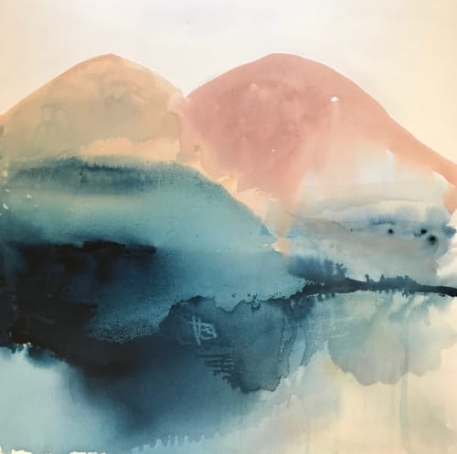 Paintings by Kathleen Rhee seen at Private Residence, Hughes - Minimal Mountain Forms Series