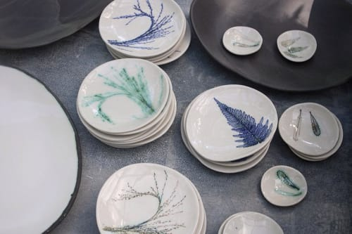 Ceramic Plates by Elke Lucas Ceramics seen at Banksii Vermouth Bar & Bistro, Barangaroo - Botanical Plates