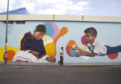 "Street Murals by Oscar Axo Art seen at Mercado Municipal La Acocota, Heroica Puebla de Zaragoza - Mural made for the project ""La Rueda"""