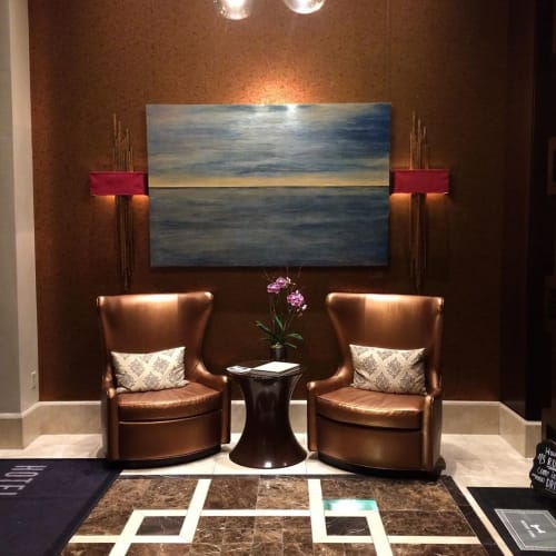"Paintings by Stephanie Steiner seen at Hotel Adagio, Autograph Collection, San Francisco - ""Sublime Seas"" Painting"