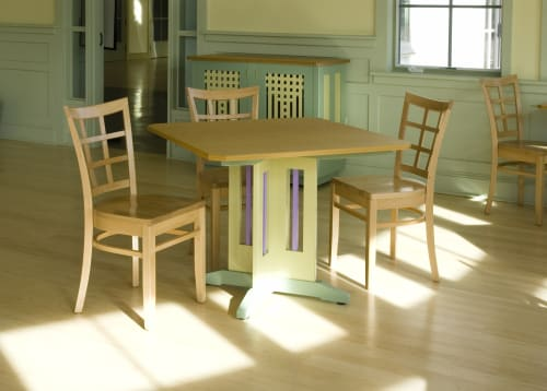 Tables by Kevin Rodel Furniture & Design Studio seen at Coastal Maine Botanical Gardens, Boothbay - Cafe Tables