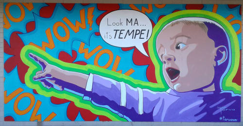 Murals by Lucretia Torva seen at Danelle Plaza, Tempe - Amazed Baby
