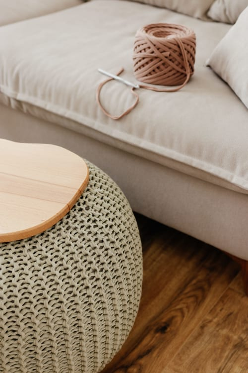 Tables by Chasha Home - Coffee Table - Knitted Pouf