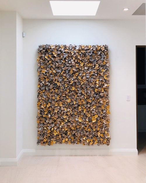 Sculptures by Ron Dier Design seen at Private Residence, La Quinta - Ribbon Wall Multi Metal 22K