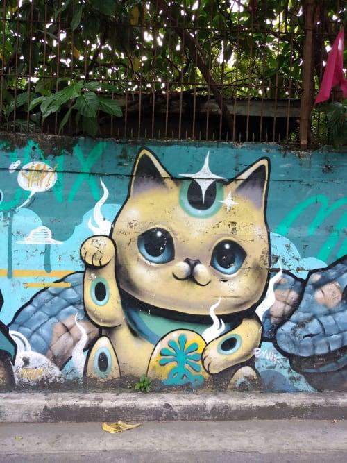 Street Murals by Bayawak seen at LEVERIZA Street, Pasay - good karma
