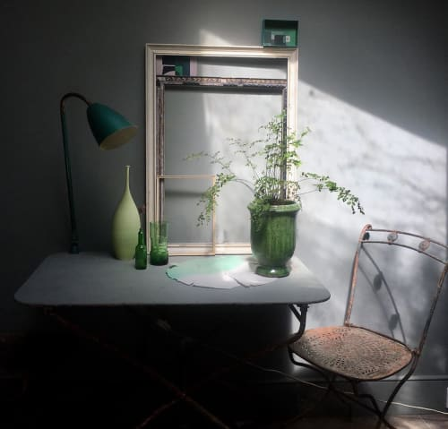 Vases & Vessels by Sophie Cook Porcelain seen at Private Residence, London - Green Ceramic Bottle