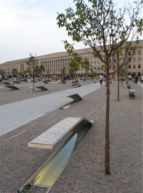Public Sculptures by Concreteworks seen at National 9/11 Pentagon Memorial, Arlington - Water Basins