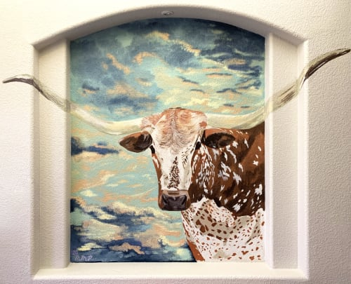 Murals by Micheline Halloul seen at Private Residence, El Paso - Longhorn in the Southwest