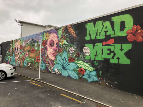 Murals by Phil Jones seen at New Plymouth, New Plymouth - Mad max mural