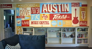 Murals by Avery Orendorf at Private Residence, Austin - Welcome to Austin