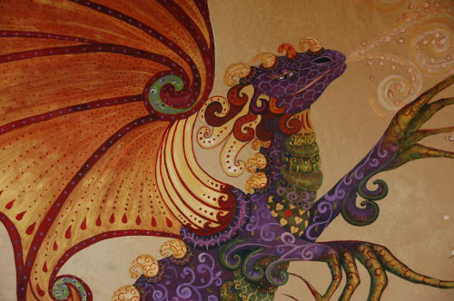 Murals by Sally Eckert Fine Art at Private Residence, Boulder - Rana's butterfly dragon