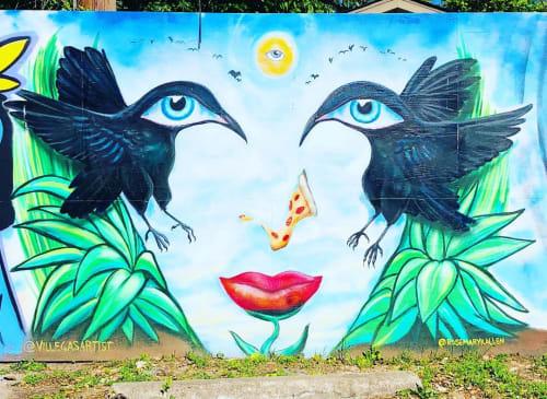 Street Murals by Juan Villegas seen at Southside Flying Pizza, Austin - Mural