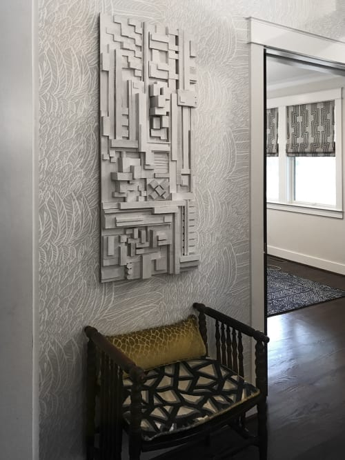 """Sculptures by Modern Art Woodworks at Private Residence, Nashville - No. 001 """"URBAN ABSTRACTION"""""""