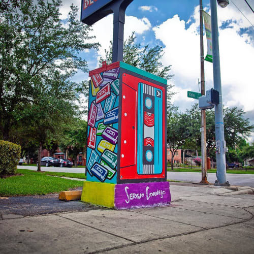 Street Murals by Sergio Cornejo seen at West 19th Street & Yale Street, Houston - Utility Box mural