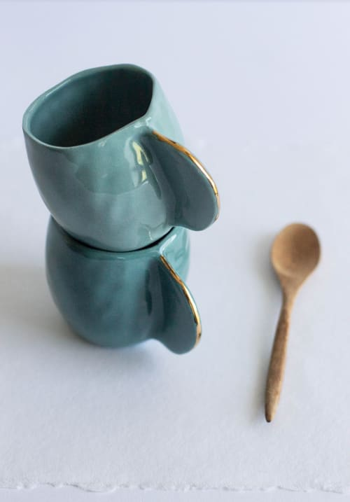 Cups by Cóte García Ceramics seen at Private Residence, Brooklyn - Teal Espresso Cups /Set of 4