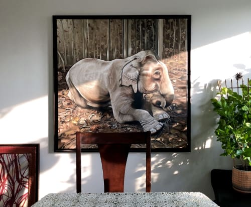 Paintings by Melissa Patel seen at Private Residence, Toronto - Elephant Lying Down - oil painting