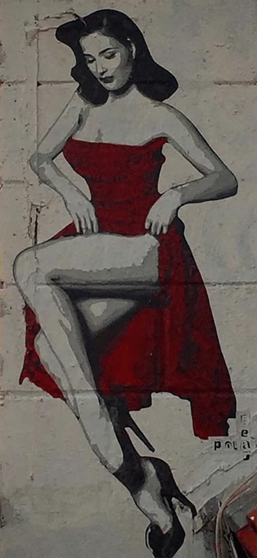 Street Murals by Polarbear - Stencils seen at Melrose Avenue, Los Angeles - Dita