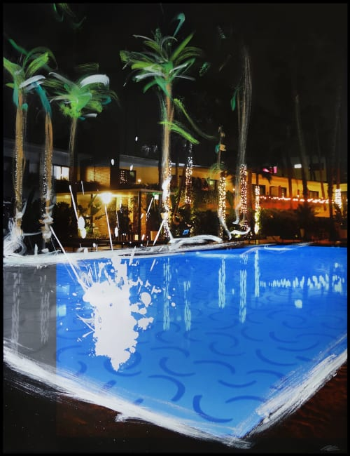 Paintings by Pete Kasprzak seen at V Wine Room, West Hollywood - Tropicana Nightswim