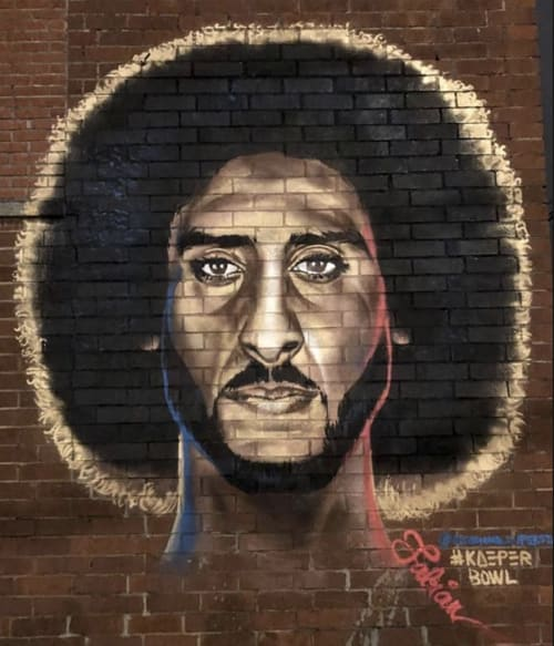 Murals by Occasional Superstar seen at 400 Northside Dr NW, Atlanta - #Kaeperbowl