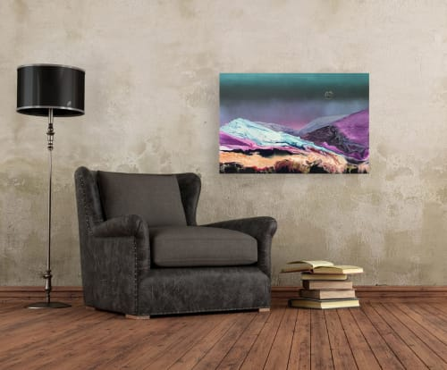 Paintings by Laura Fishman Art seen at Private Residence, London - Moon Over Mountain