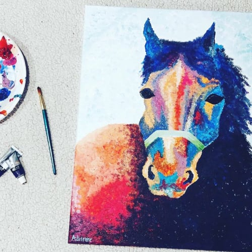 Paintings by Sincerely Adrienne seen at Private Residence, Aiken - Horse Painting