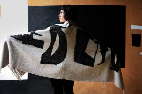 Rugs by BLACK LINE CRAZY | Designed by artist Mary van de Wiel seen at Private Residence, San Miguel de Allende - GIDDY | 2M LONG THROW