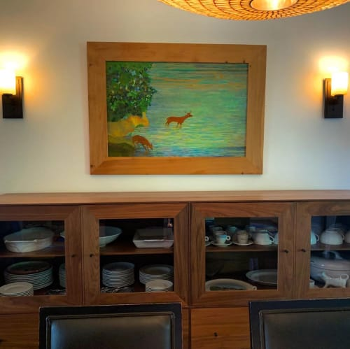 Paintings by Susan Hall seen at Private Residence, Point Reyes Station - Two Red Deer