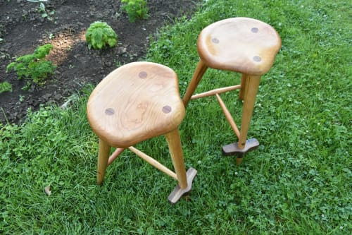 Chairs by Gill CC Woodworks seen at Creator's Studio, Gill - Custom cherry stools
