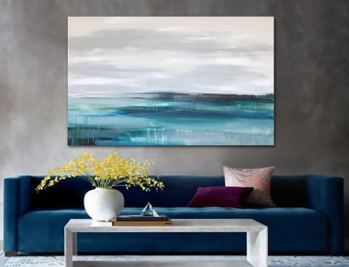 Paintings by Linnea Heide contemporary fine art seen at Private Residence - 'AUGUSTA' original abstract painting by Linnea Heide