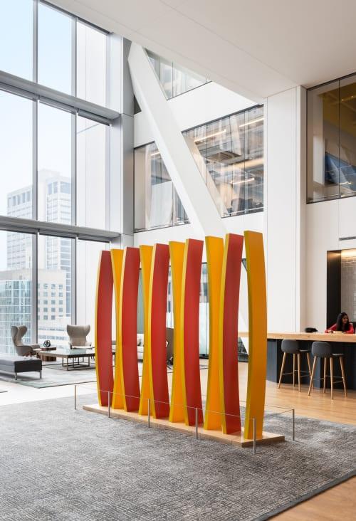 Sculptures by Dennis Beach Studios seen at Comcast Technology Center, Philadelphia - Curve #10