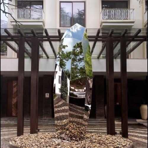 Public Sculptures by Raj Shahani seen at Hyatt Regency Dharamshala Resort, Dharamshala - Jayanti- Monolithic