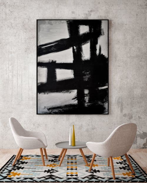 "Paintings by Nicolette Atelier at Private Residence - ""Concrete No. 3 Black Kline"""