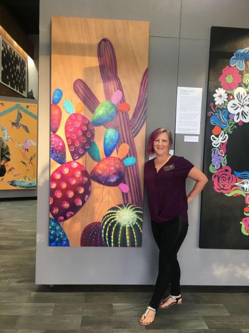 "Paintings by Melanie Ellery seen at Private Residence, San José del Cabo - ""cactos dulce"", painted door"