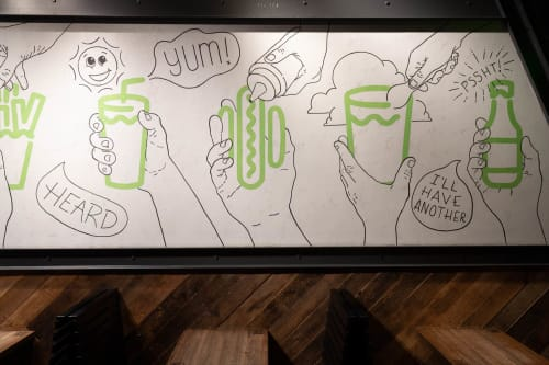 Murals by Jesse Hora seen at West Loop, Chicago - Happy Hand Land Shake Shack Mural