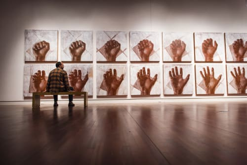"""Paintings by Andrew Ramiro Tirado seen at Colorado Springs Fine Arts Center, Colorado Springs - Preparatory Drawings for """"Open Hand"""" Sculpture"""