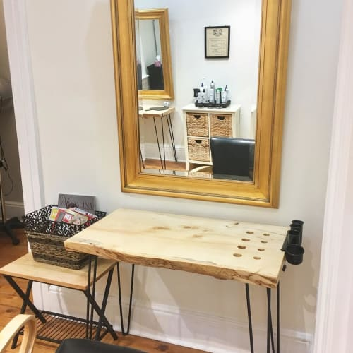 Tables by Pura Vida Wood Co seen at Kathleen Sou Hair Artists, Guelph - Customized Tables