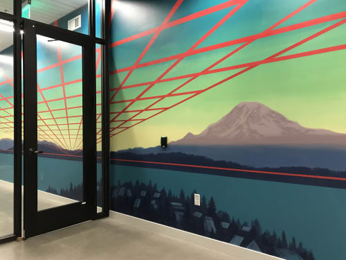 Murals by Mary Iverson at WSECU, Seattle - WSECU Mural