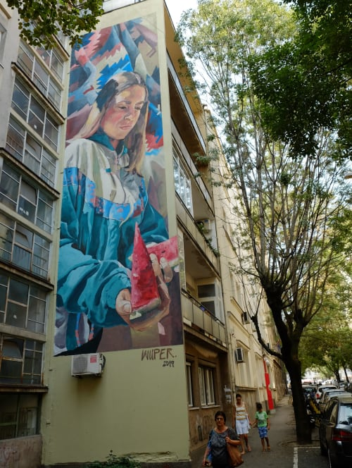 Murals by Wuper seen at Knez-Miletina 10, Beograd - Ana