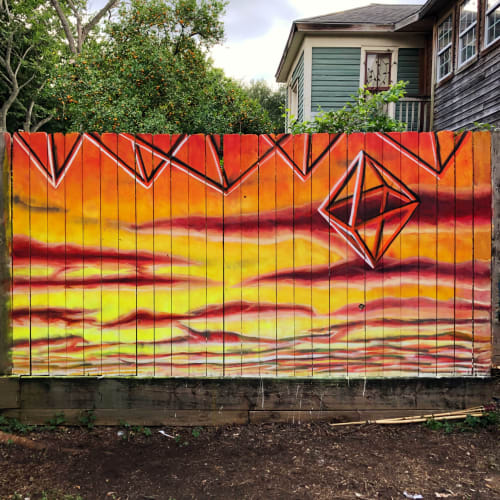 Street Murals by Vincent Fink seen at Private Residence, Houston - Sunset with Sacred Geometry