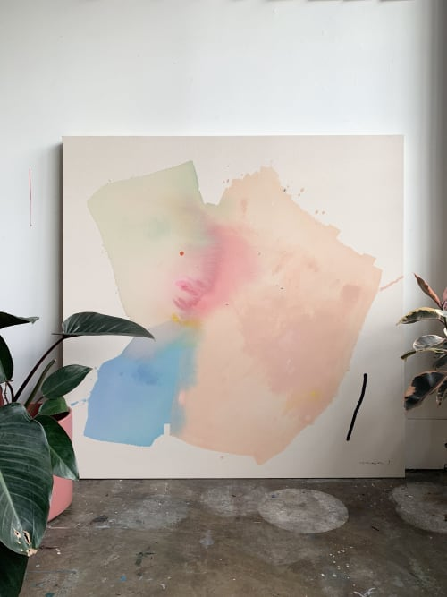 "Paintings by maja dlugolecki seen at Cloudforest, Portland - 'feeling lighter' 48"" x 48"""