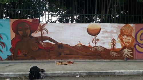 Murals by DM.Tinta seen at Taboão da Serra, Taboão da Serra - Mother earth
